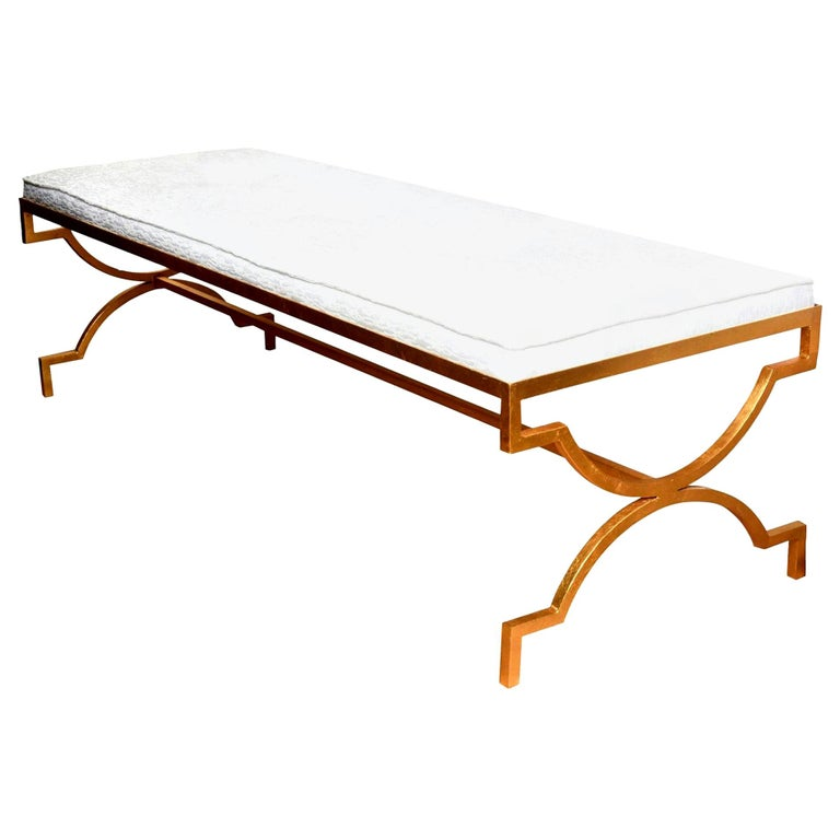 Tommi Parzinger Gold Leaf Iron Bench Mid-Century Modern For Sale