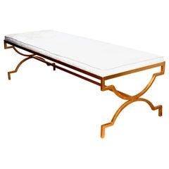 Tommi Parzinger Gold Leaf Iron Bench Mid-Century Modern