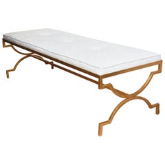 Tommi Parzinger Gold Leaf over Iron Upholstered Bench Mid-Century Modern