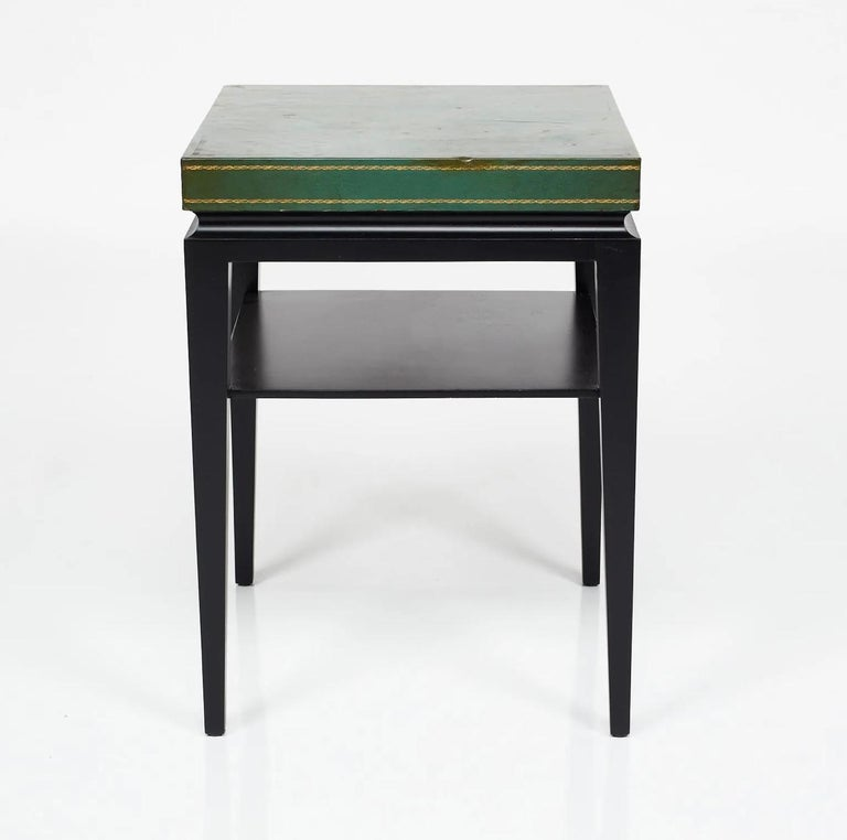 Mid-Century Modern Tommi Parzinger, Green Leather Occasional Table, Model No. 3303 For Sale