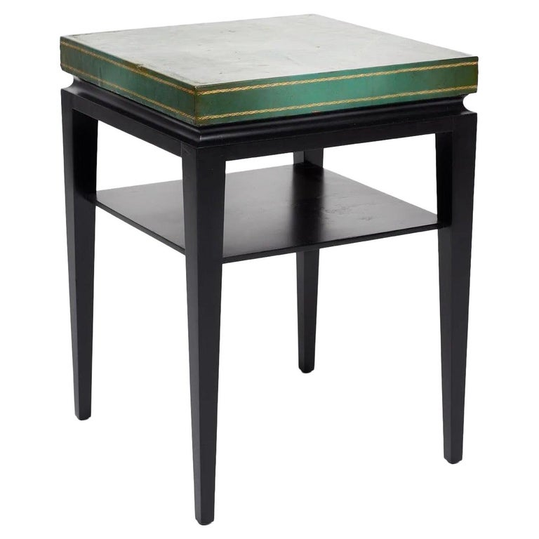 Tommi Parzinger, Green Leather Occasional Table, Model No. 3303 For Sale