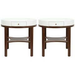 Tommi Parzinger Lacquered Linen, Walnut Side Tables