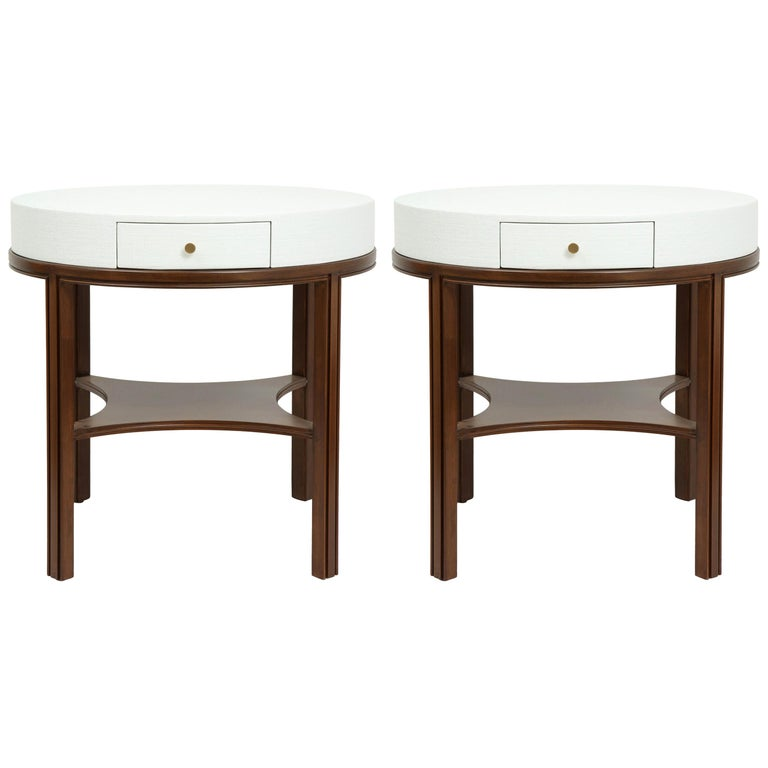 Tommi Parzinger Lacquered Linen, Walnut Side Tables For Sale