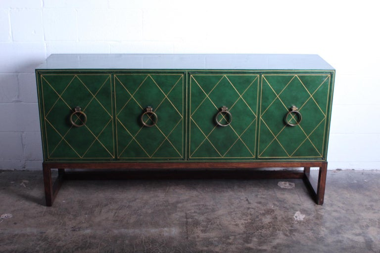Tommi Parzinger Leather Cabinet In Good Condition For Sale In Dallas, TX