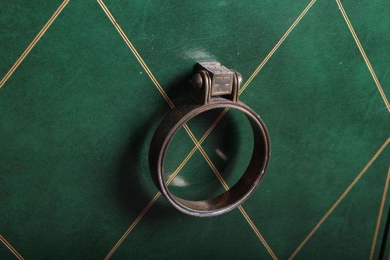 Tommi Parzinger Leather Cabinet For Sale 1