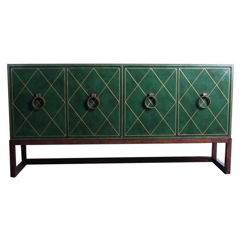 Tommi Parzinger leather cabinet, 1945, offered by Sputnik Modern