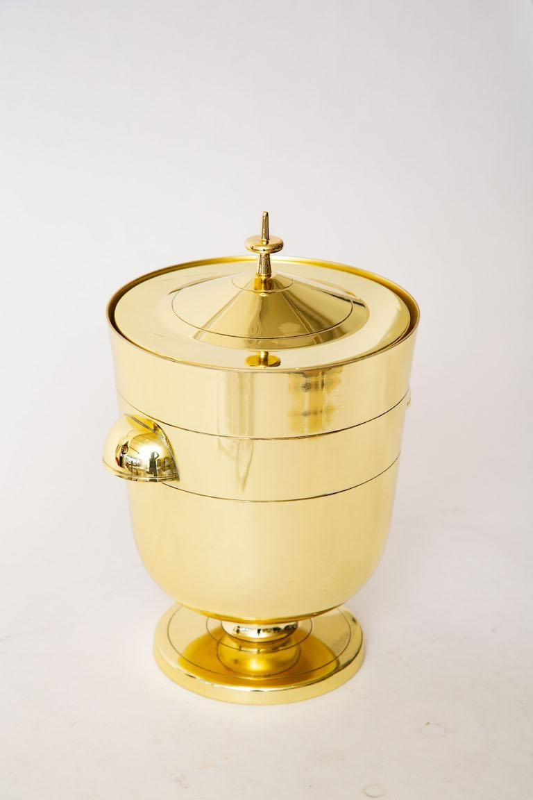 American Tommi Parzinger Brass Ice and Champagne Bucket Mid-Century Modern Barware For Sale