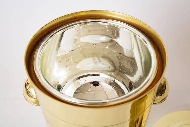 Tommi Parzinger Brass Ice and Champagne Bucket Mid-Century Modern Barware For Sale 4
