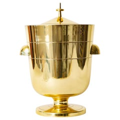 Tommi Parzinger Lidded Brass Ice and Champagne Bucket Mid-Century Modern Barware