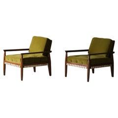 Tommi Parzinger, Lounge Chairs, Walnut, Webbing, Green Velvet Charak Modern 1957