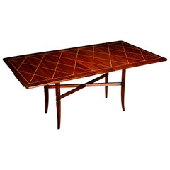 Tommi Parzinger Mahogany Convertible Desk, Dining & Console Table, 1951, Signed