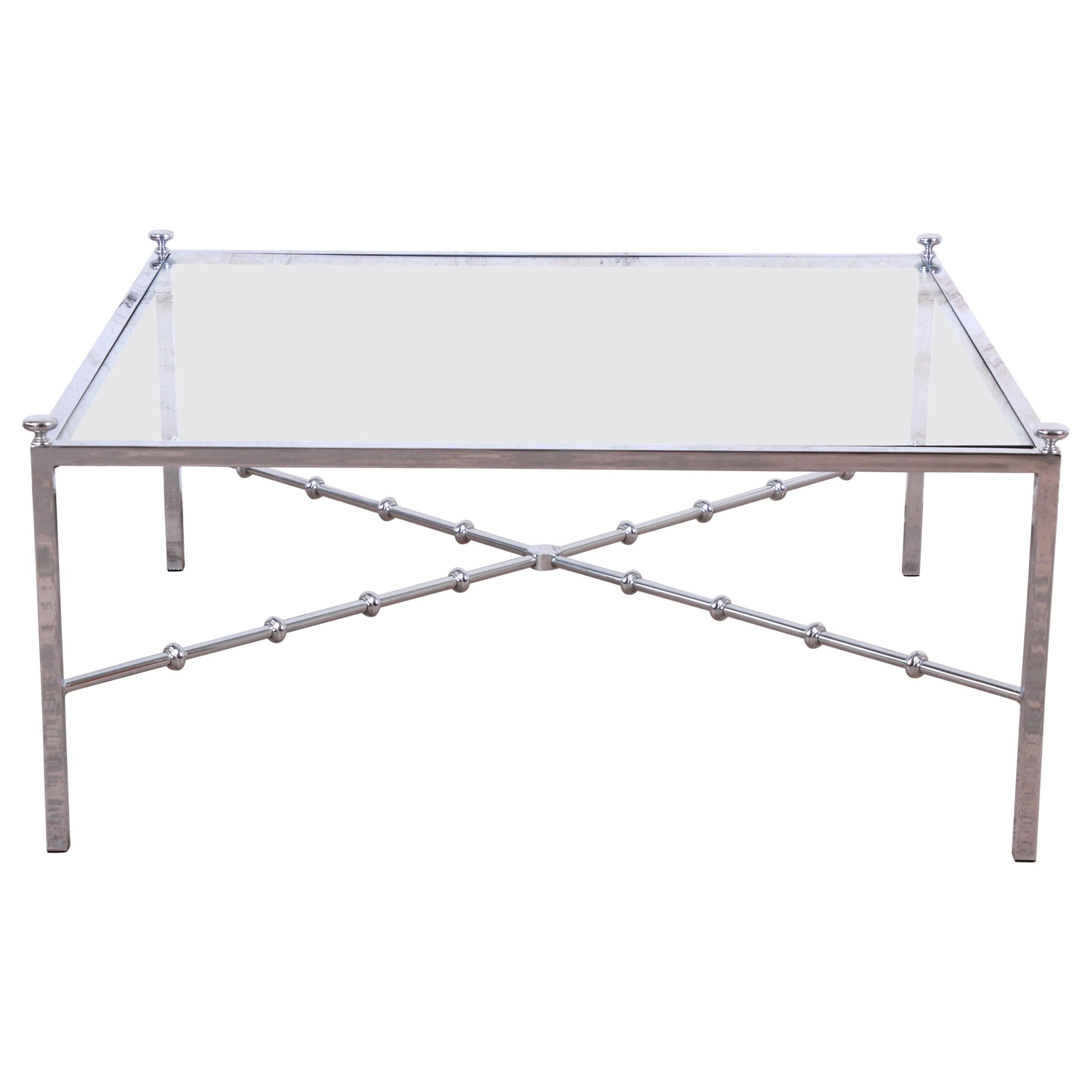 Tommi Parzinger Midcentury Hollywood Regency Chrome and Glass Cocktail Table