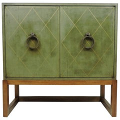 Tommi Parzinger Mid-Century Modern Leather and Brass Cabinet for Charak
