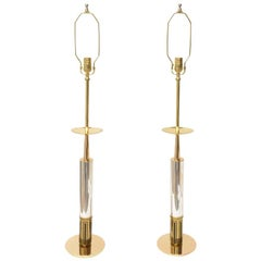 Tommi Parzinger Midcentury Brass and Silver-Plate Lamps