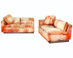 Tommi Parzinger Originals Batik Silk Velvet Modular Plinth Sofa Sectional, 1950s