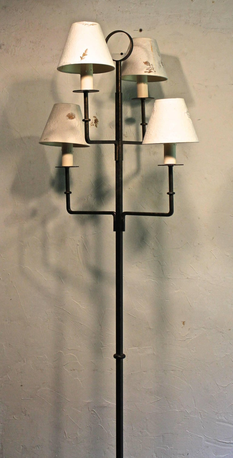 American Tommi Parzinger Originals Wrought Iron Floor Lamp For Sale