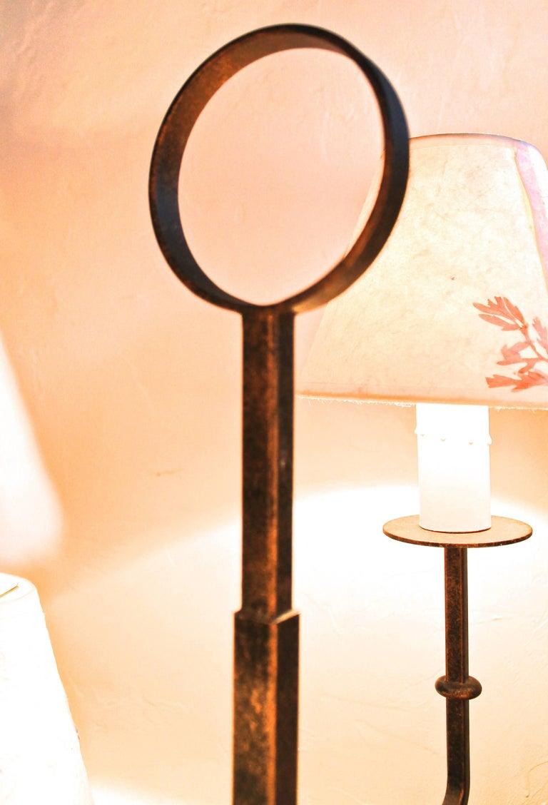 Welded Tommi Parzinger Originals Wrought Iron Floor Lamp For Sale