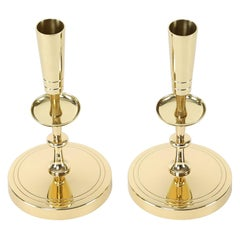 Tommi Parzinger Pair of Candelabra in Polished Brass, 1950s, 'Signed'