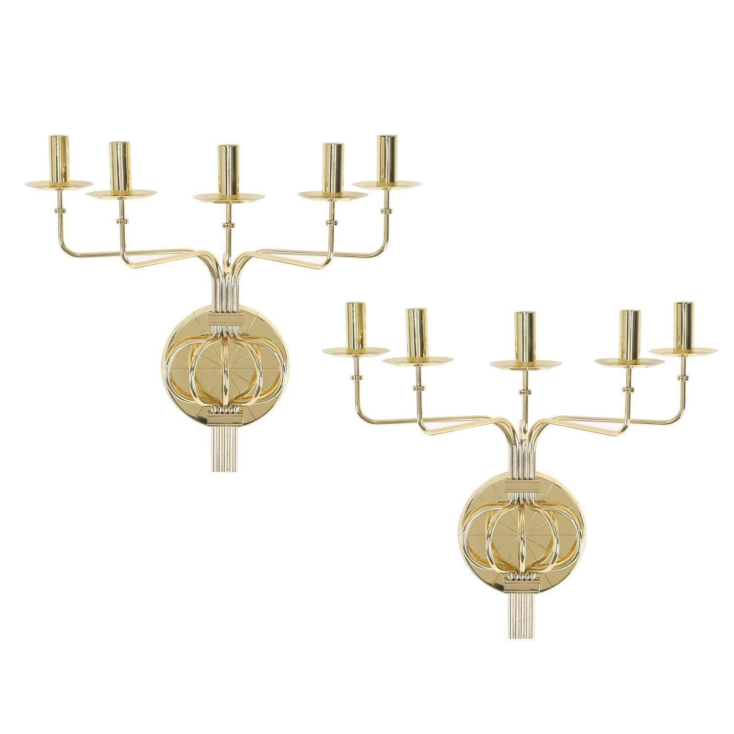Tommi Parzinger Pair of Impressive 5 Arm Wall Sconces in Polished Brass, 1950s