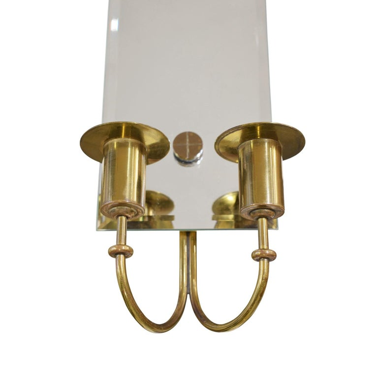 Beveled Tommi Parzinger Pair of Mirrored Sconces with Brass Candleholders, 1950s For Sale