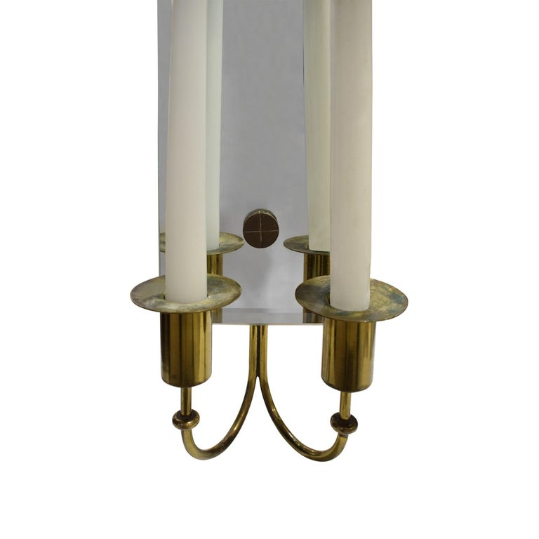 Tommi Parzinger Pair of Mirrored Sconces with Brass Candleholders, 1950s In Excellent Condition For Sale In New York, NY