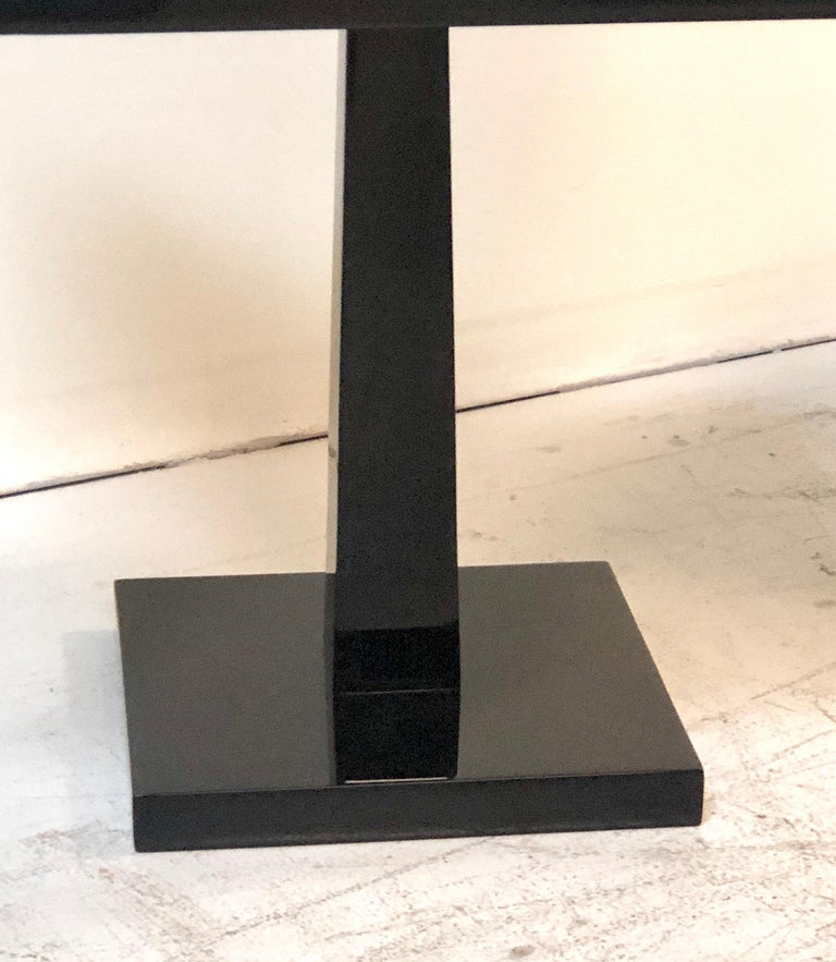American Tommi Parzinger Pair of Modernist Black Lacquer Floor Lamps For Sale