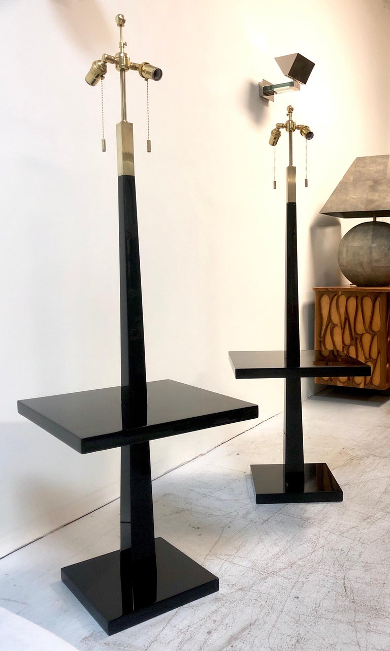 Mid-20th Century Tommi Parzinger Pair of Modernist Black Lacquer Floor Lamps For Sale
