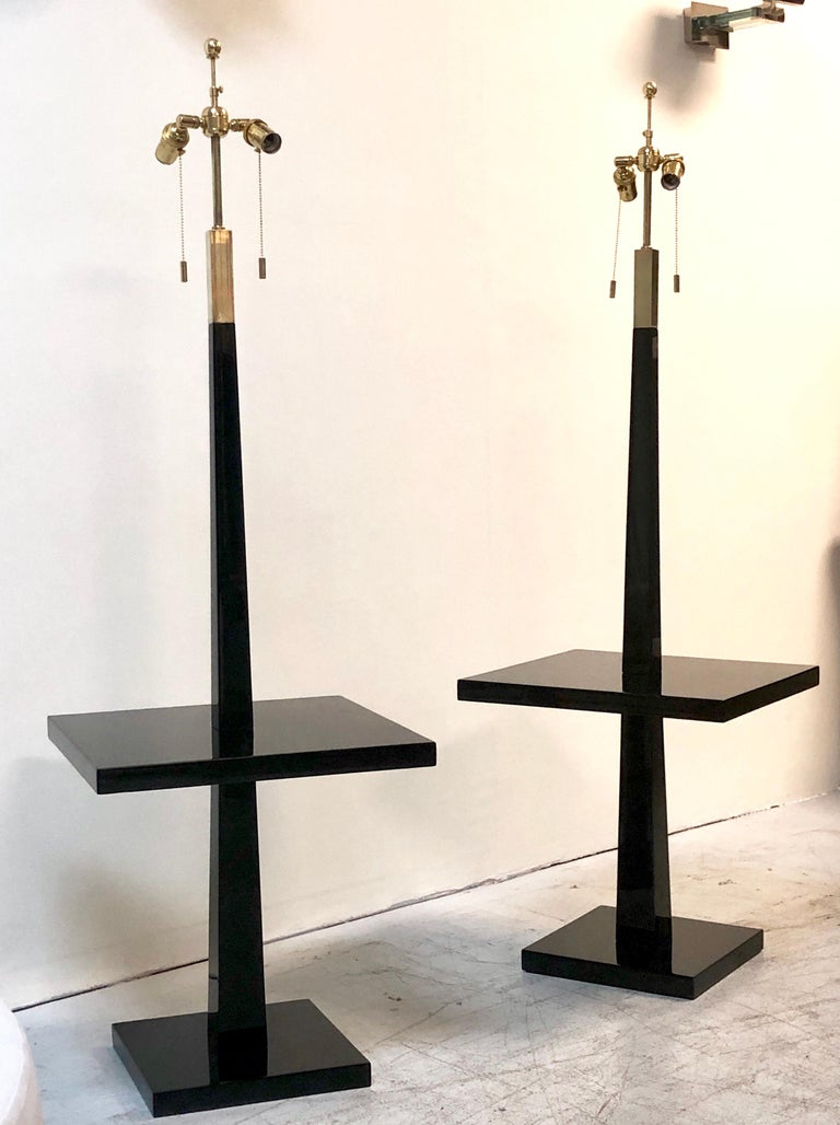 Tommi Parzinger Pair of Modernist Black Lacquer Floor Lamps For Sale 1