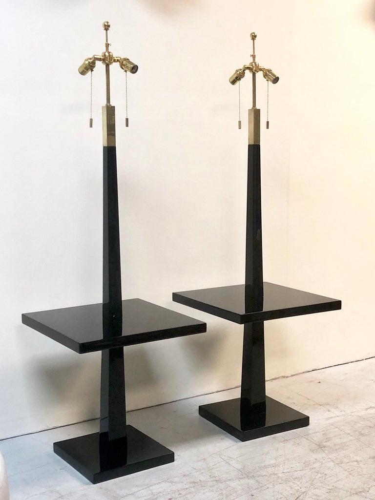 Tommi Parzinger Pair of Modernist Black Lacquer Floor Lamps For Sale 2