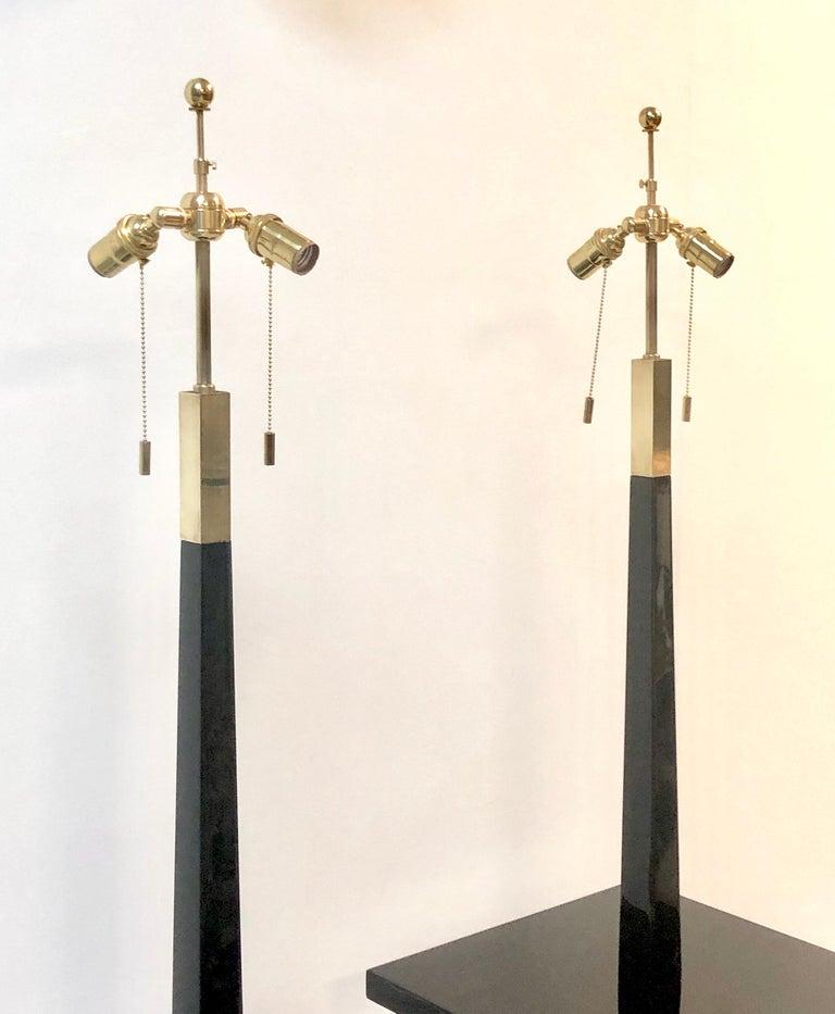 Tommi Parzinger Pair of Modernist Black Lacquer Floor Lamps For Sale 3