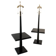 Tommi Parzinger Pair of Modernist Black Lacquer Floor Lamps