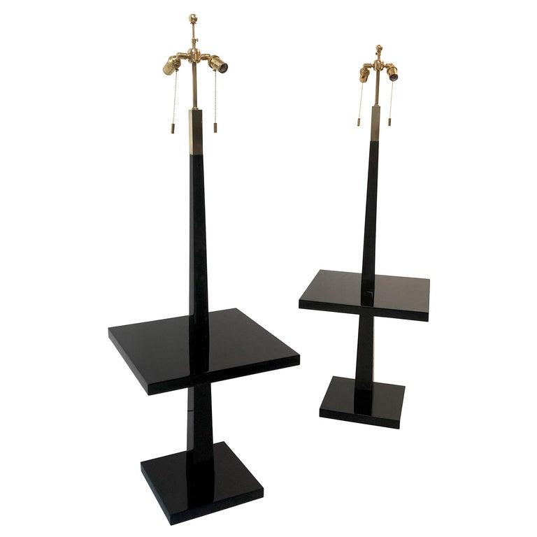 Tommi Parzinger Pair of Modernist Black Lacquer Floor Lamps For Sale