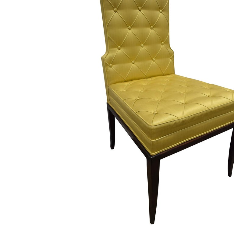 Tommi Parzinger Set of 6 Dining Chairs With Tufted Backs 1950s In Excellent Condition For Sale In New York, NY