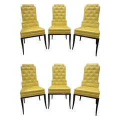 Tommi Parzinger Set of 6 Dining Chairs With Tufted Backs 1950s