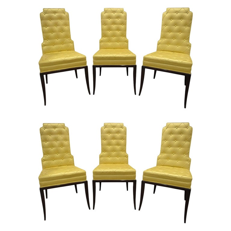 Tommi Parzinger Set of 6 Dining Chairs With Tufted Backs 1950s For Sale