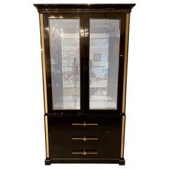 Tommi Parzinger Showcase Cabinet, Vitrine or Bookcase. Ebony, Hollywood Regency