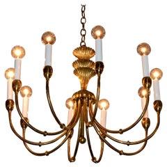 Tommi Parzinger Style Brass 10-Arm / Torchiere Art Deco Style Chandelier