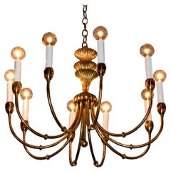 Tommi Parzinger Style Brass 10-Arm / Torchiere Art Deco Style Chandelier