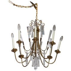 Tommi Parzinger Style Brass and Crystal Chandelier
