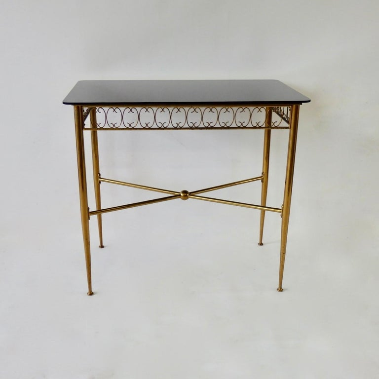 Mid-Century Modern Tommi Parzinger Style Brass Base Vitrolite Glass Top Console Table For Sale
