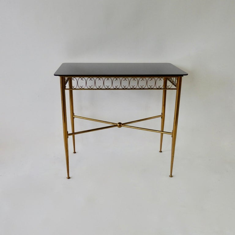Italian Tommi Parzinger Style Brass Base Vitrolite Glass Top Console Table For Sale