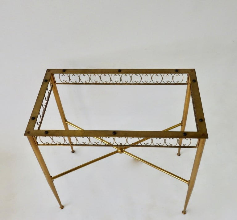 Tommi Parzinger Style Brass Base Vitrolite Glass Top Console Table For Sale 2