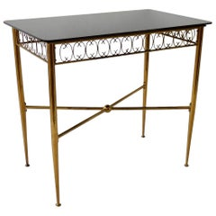 Tommi Parzinger Style Brass Base Vitrolite Glass Top Console Table
