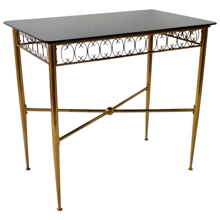 Tommi Parzinger Style Brass Base Vitrolite Glass Top Console Table For Sale