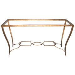 Tommi Parzinger style Gilt Wrought Iron and Beveled Glass Console