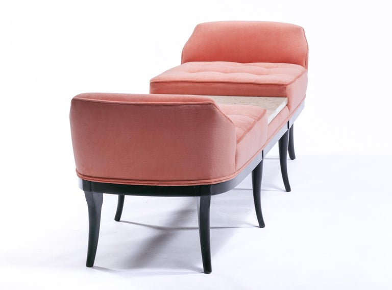 Tommi Parzinger Style Hollywood Regency Gondola Bench in Rosé Velvet, circa 1960 For Sale 9