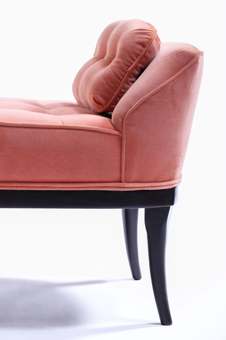 Mid-20th Century Tommi Parzinger Style Hollywood Regency Gondola Bench in Rosé Velvet, circa 1960