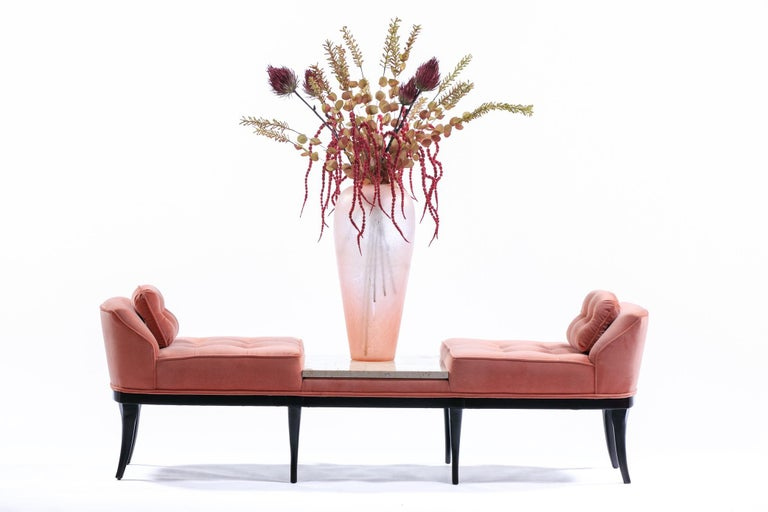 Hello beautiful! Our shop is proud to offer this elegant and chic Tommi Parzinger style gondola slipper bench circa 1960 in rosé / pink velvet with a centered travertine plateau. Looking for a statement piece for your home or project? Here it is.