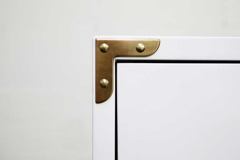 Tommi Parzinger Styled White Lacquer Brass Campaign Dresser by Drexel, Signed For Sale 3
