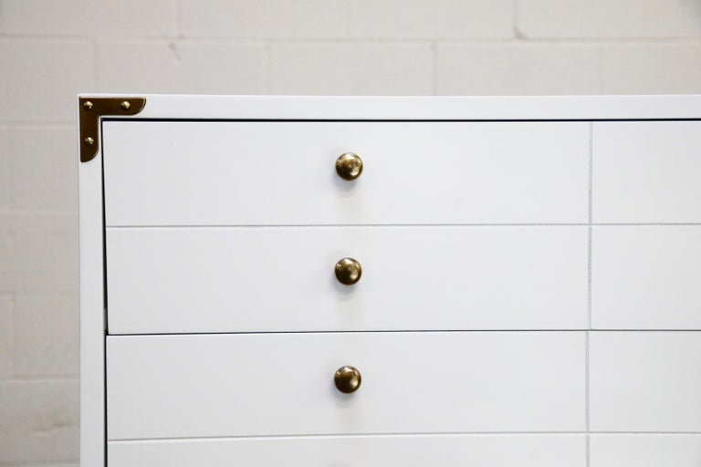 Tommi Parzinger Styled White Lacquer Brass Campaign Dresser by Drexel, Signed For Sale 5